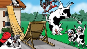 Bicycle trick cow comic